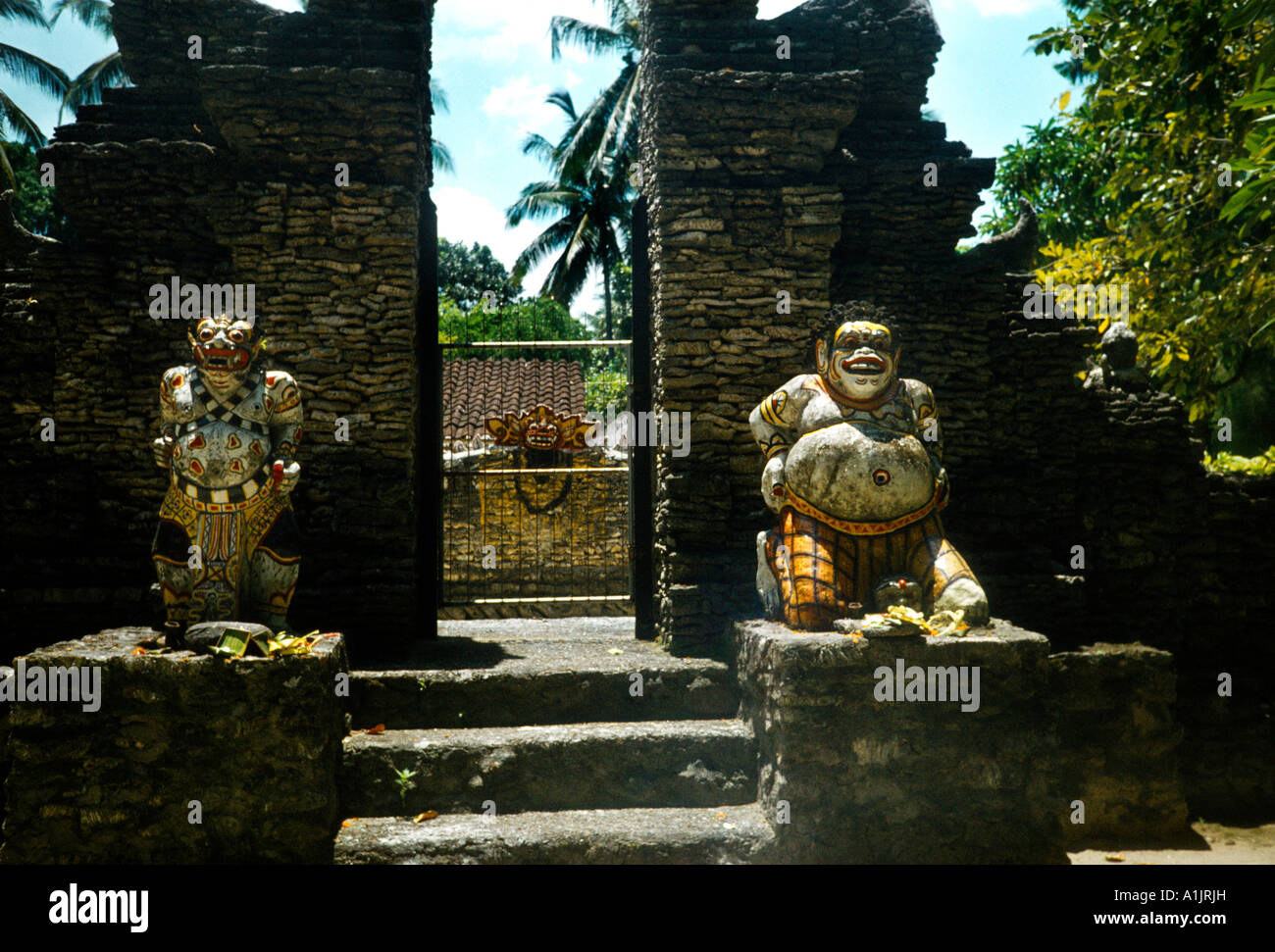 Bali Indonesia Temple Gods Outside Of Temple - Stock Image