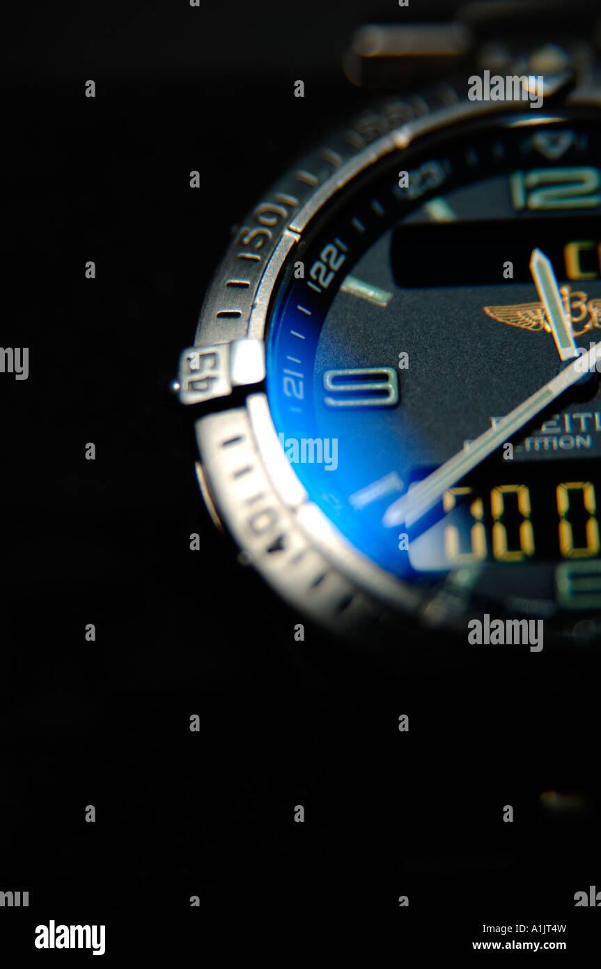 Breitling Aerospace repetition minutes titanium gents wristwatch black background - Stock Image
