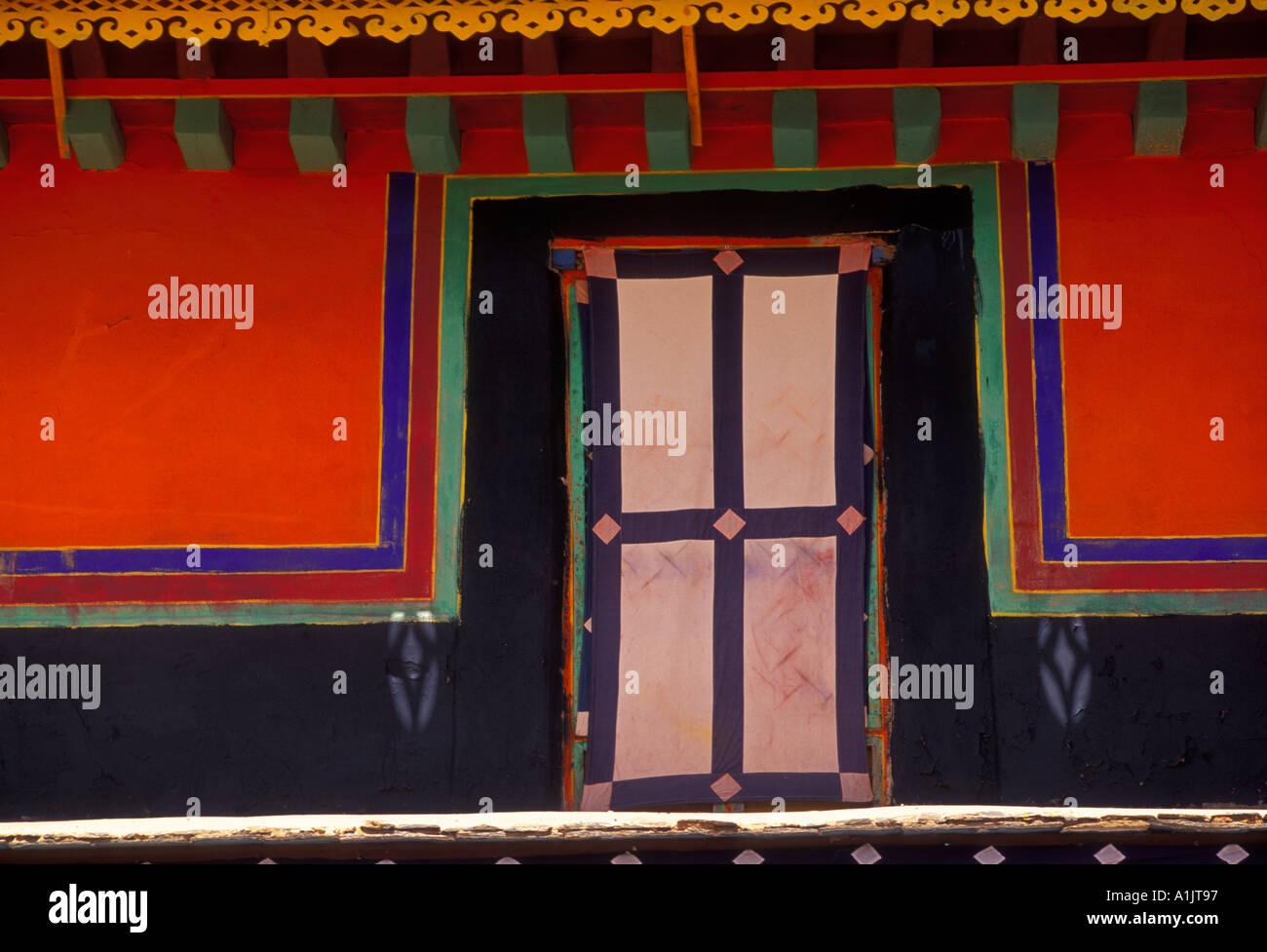 wall along, corridor, courtyard, patio, The Potala Palace, Potala Palace, city of Lhasa, Lhasa, Tibet, China, Asia - Stock Image