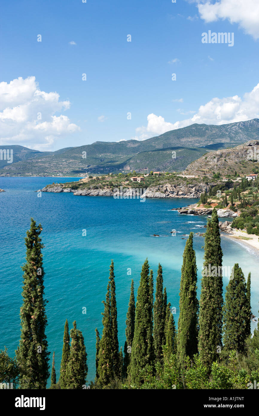 View over Kalamitsi Beach with Kardamyli in the distance, Kardamyli, The Mani peninsula, Peloponnese, Greece - Stock Image