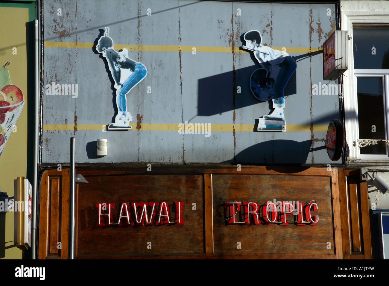 Advertising Hoarding Above Bar Building Calais France - Stock Image