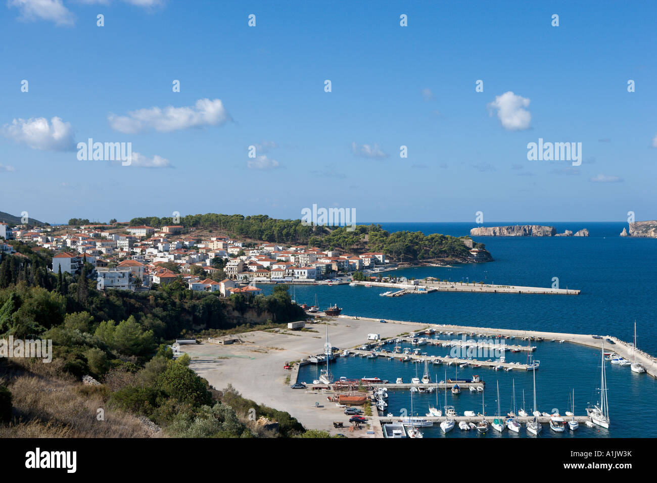 View over the harbour at Pylos, near Yialova, Messinia, Peloponnese, Greece - Stock Image