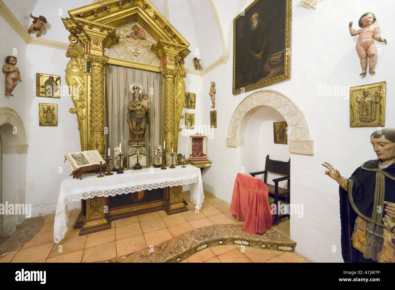 Interior of  the Real Cartuja (Royal Carthusian Monastery), Valldemossa, West Coast, Mallorca, Balearic Islands, - Stock Image
