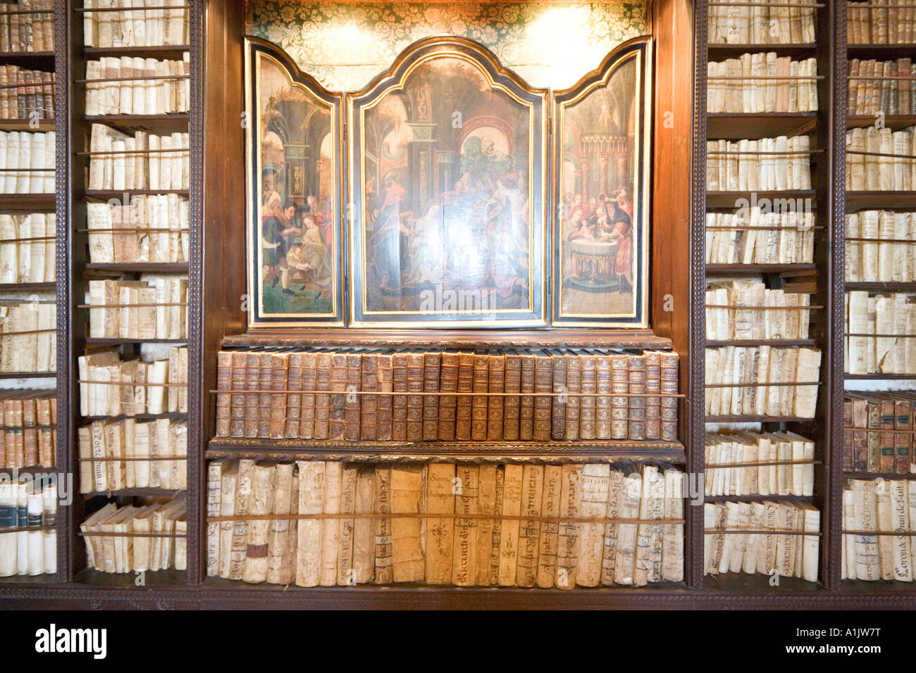 Interior of  the Library, Real Cartuja (Royal Carthusian Monastery), Valldemossa, Mallorca, Balearic Islands, Spain - Stock Image