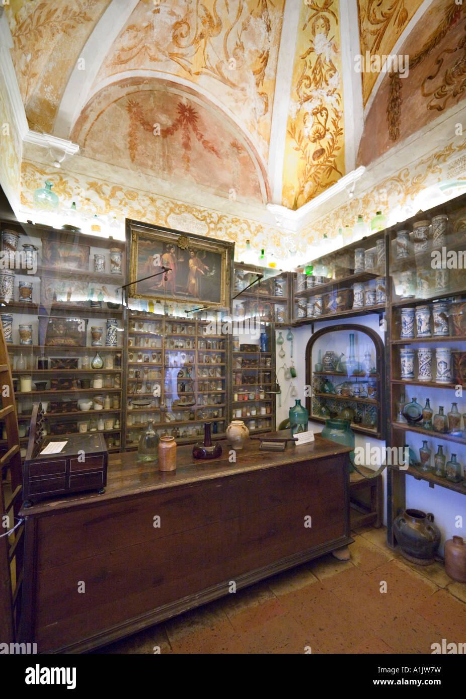 Interior of the Apothecary , Real Cartuja (Royal Carthusian Monastery), Valldemossa, Mallorca, Balearic Islands - Stock Image