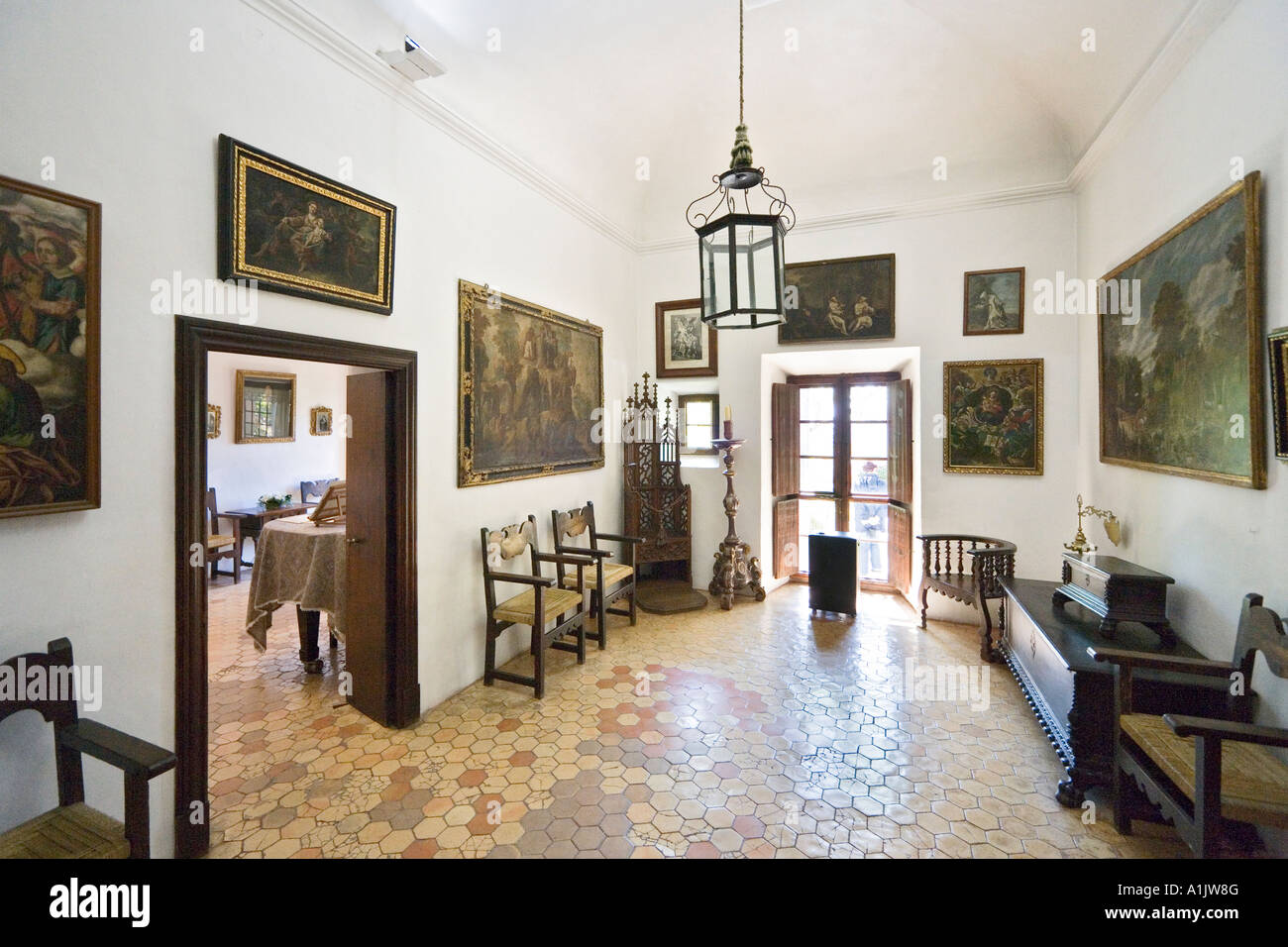 Rooms used by Frederic Chopin, Real Cartuja (Royal Carthusian Monastery), Valldemossa, Mallorca, Balearic Islands, - Stock Image