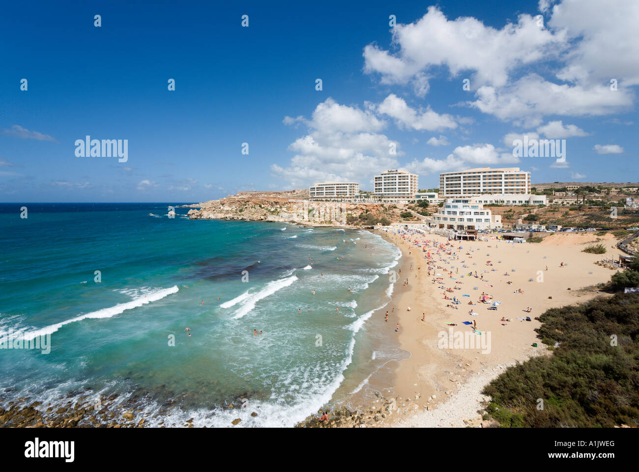 Beach and Radisson SAS Golden Sands Resort and Spa, Golden Bay, Malta - Stock Image
