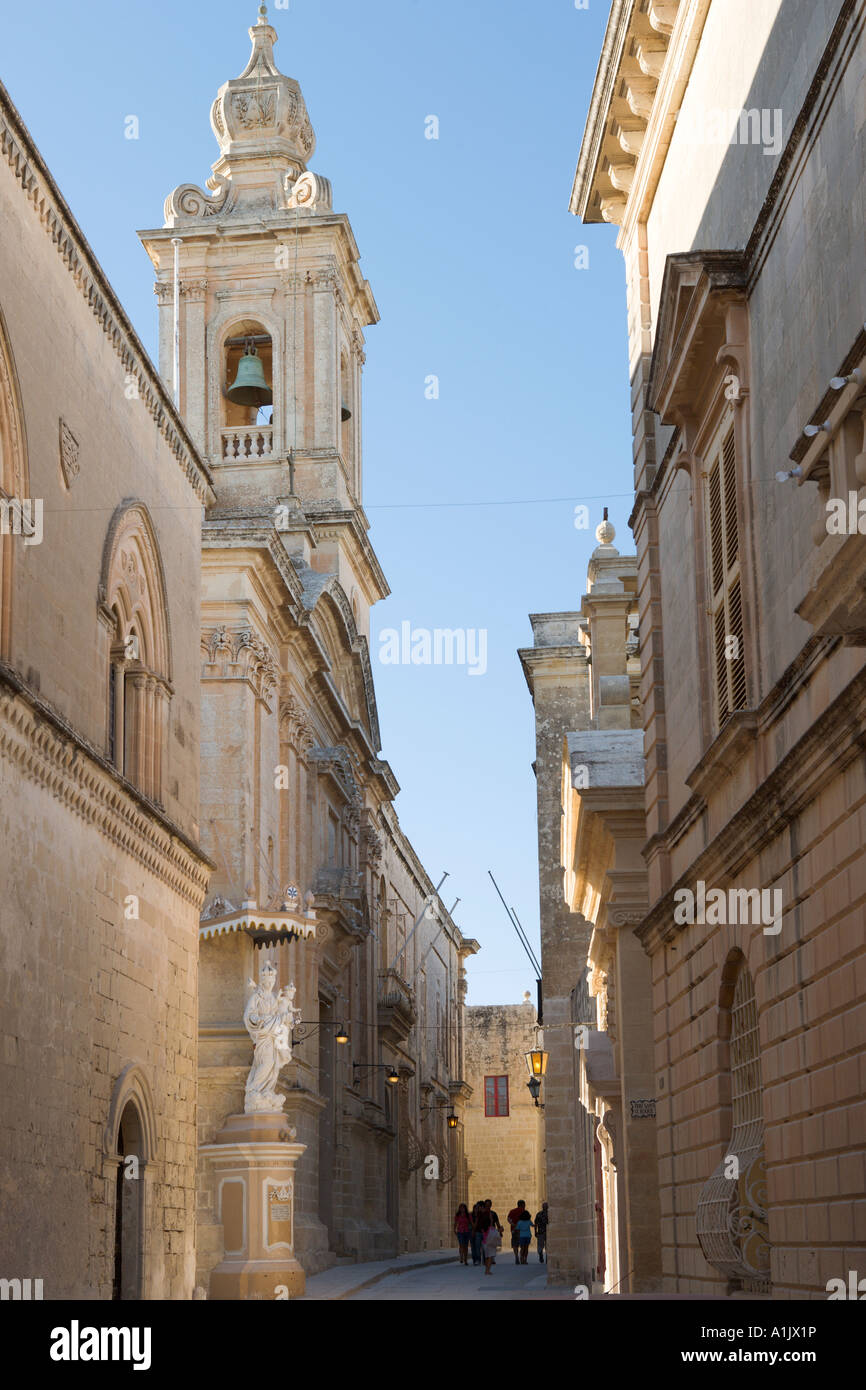 Typical street in the medieval walled city of Mdina (once the island capital), Malta Stock Photo