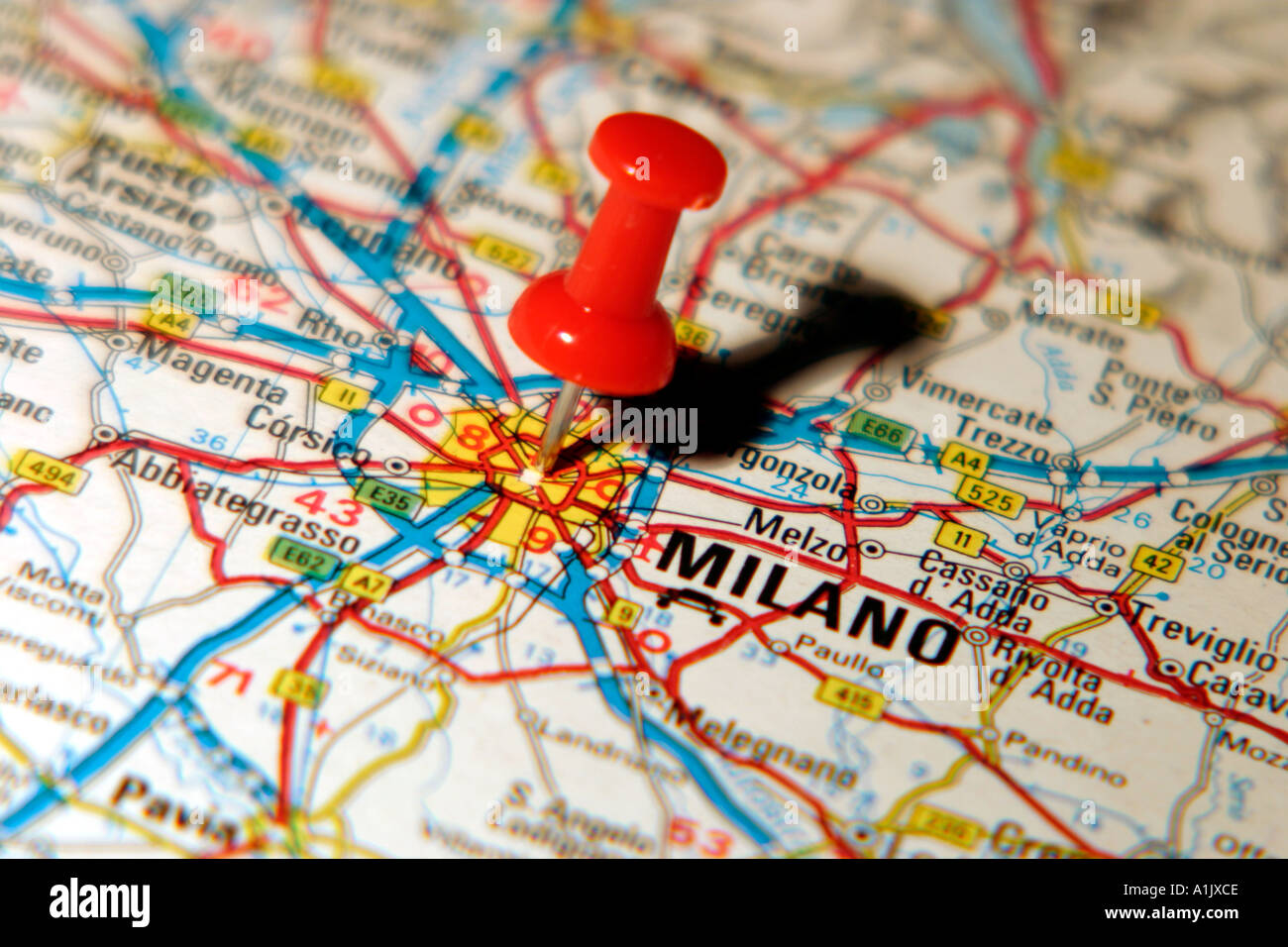 Map Pin pointing to Milan Italy on a road map Stock Photo: 3355341 ...