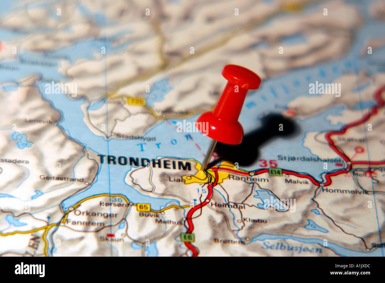 Trondheim Norway Map Stock Photos Trondheim Norway Map Stock