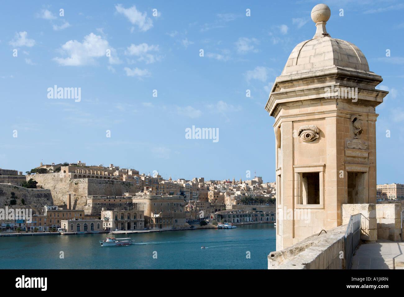 View of Valletta and Grand Harbour from Senglea, Valletta, Malta - Stock Image