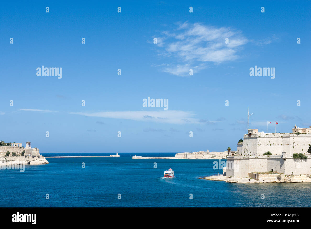 View of Grand Harbour and Fort St Angelo from Senglea, Valletta, Malta - Stock Image