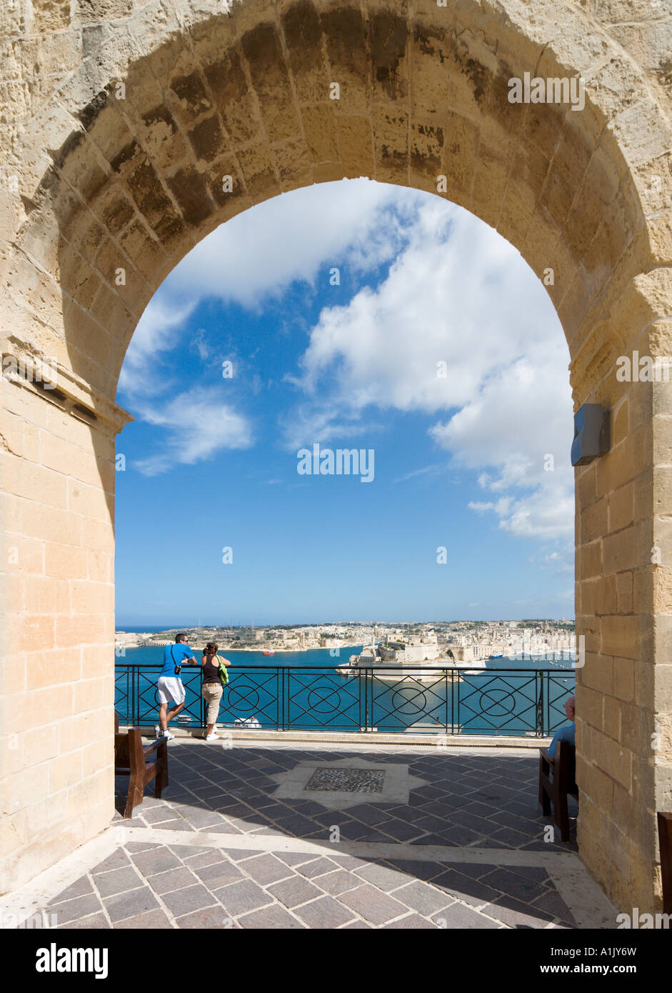 View over Grand Harbour and Fort St Angelo from Upper Barracca Gardens, Valletta, Malta - Stock Image