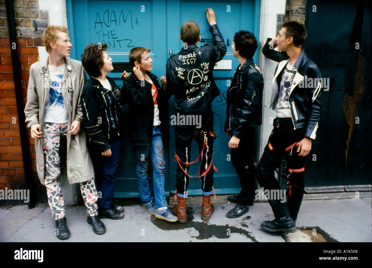 Group of young punk kids in London. - Stock Image