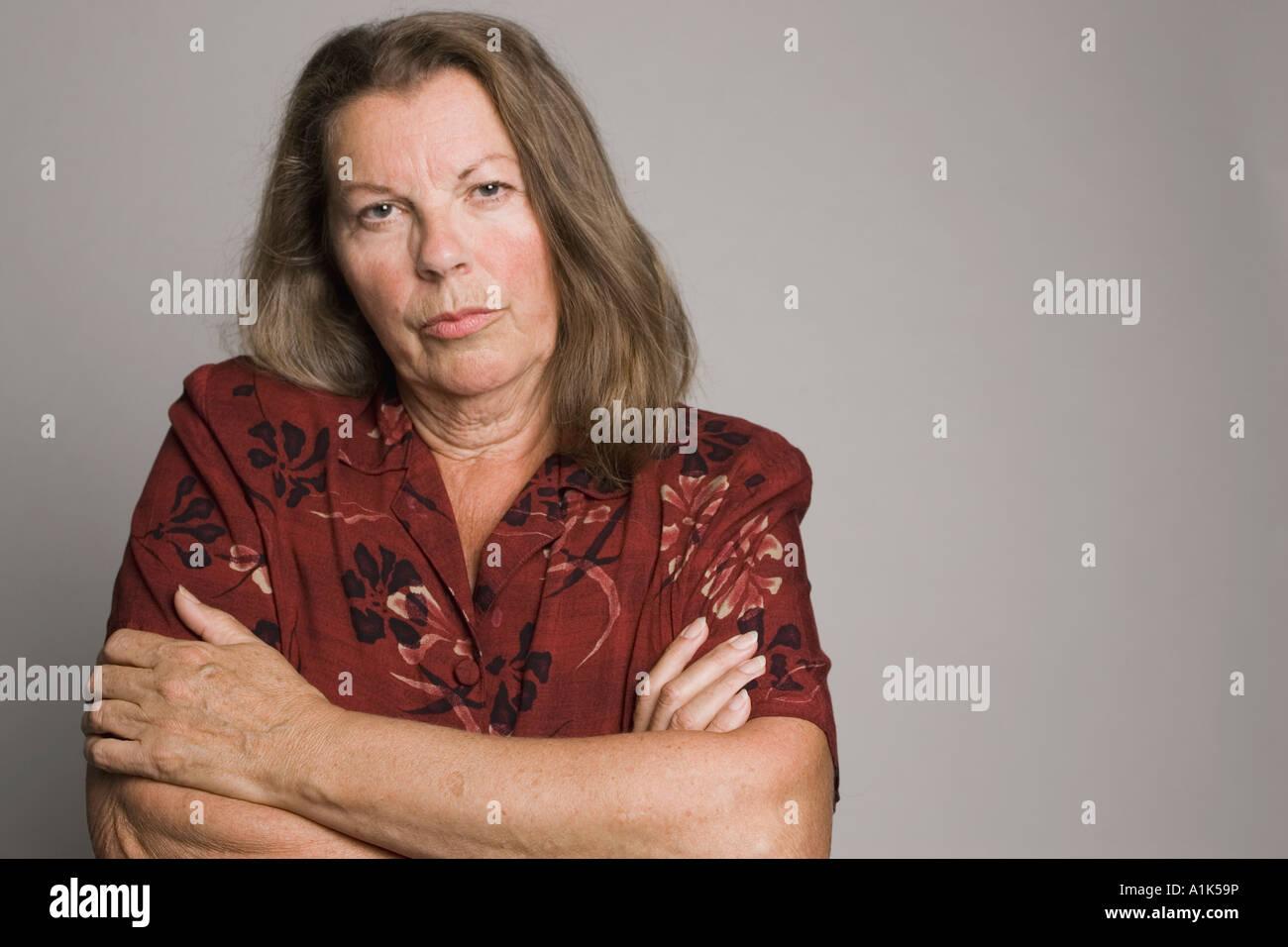 b19da9f08ad2 Portraits of a mature caucasian woman in the studio Stock Photo ...