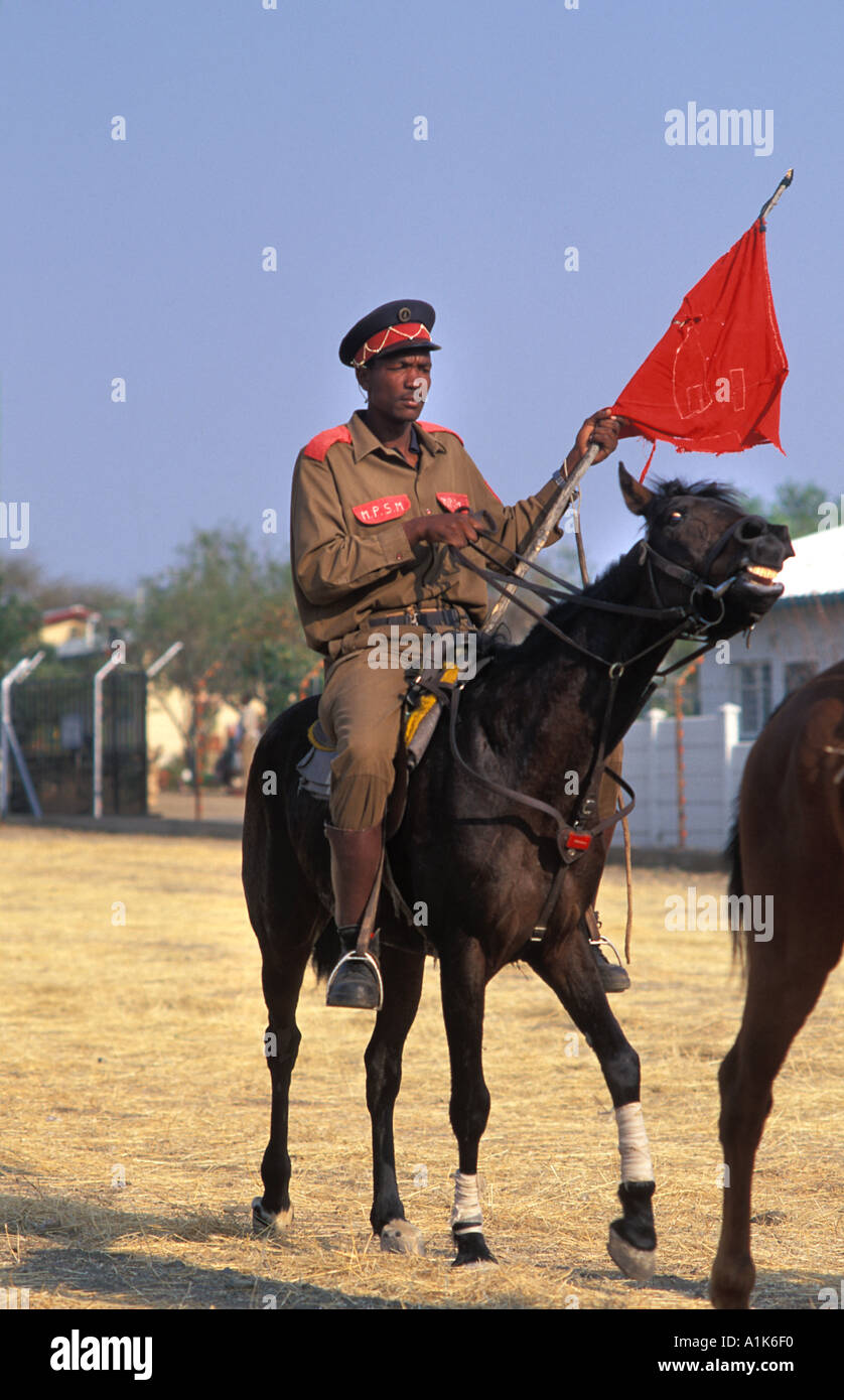 Member of paramilitary style group in uniform and on horseback for Maherero day August Namibia - Stock Image