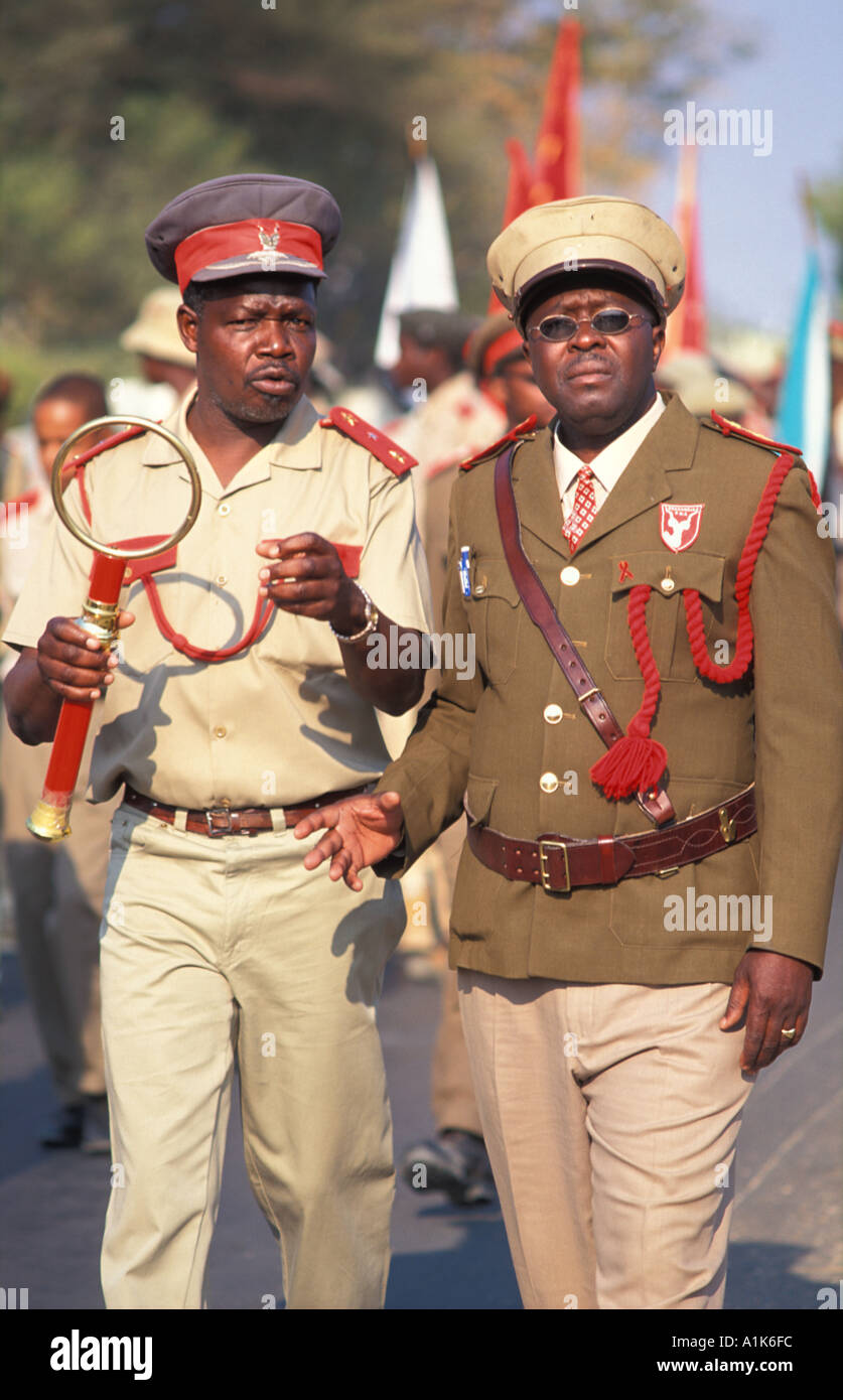 Tribal chiefs of paramilitary style group The main Herero festival is held in Okahandja on Maherero day August Namibia - Stock Image