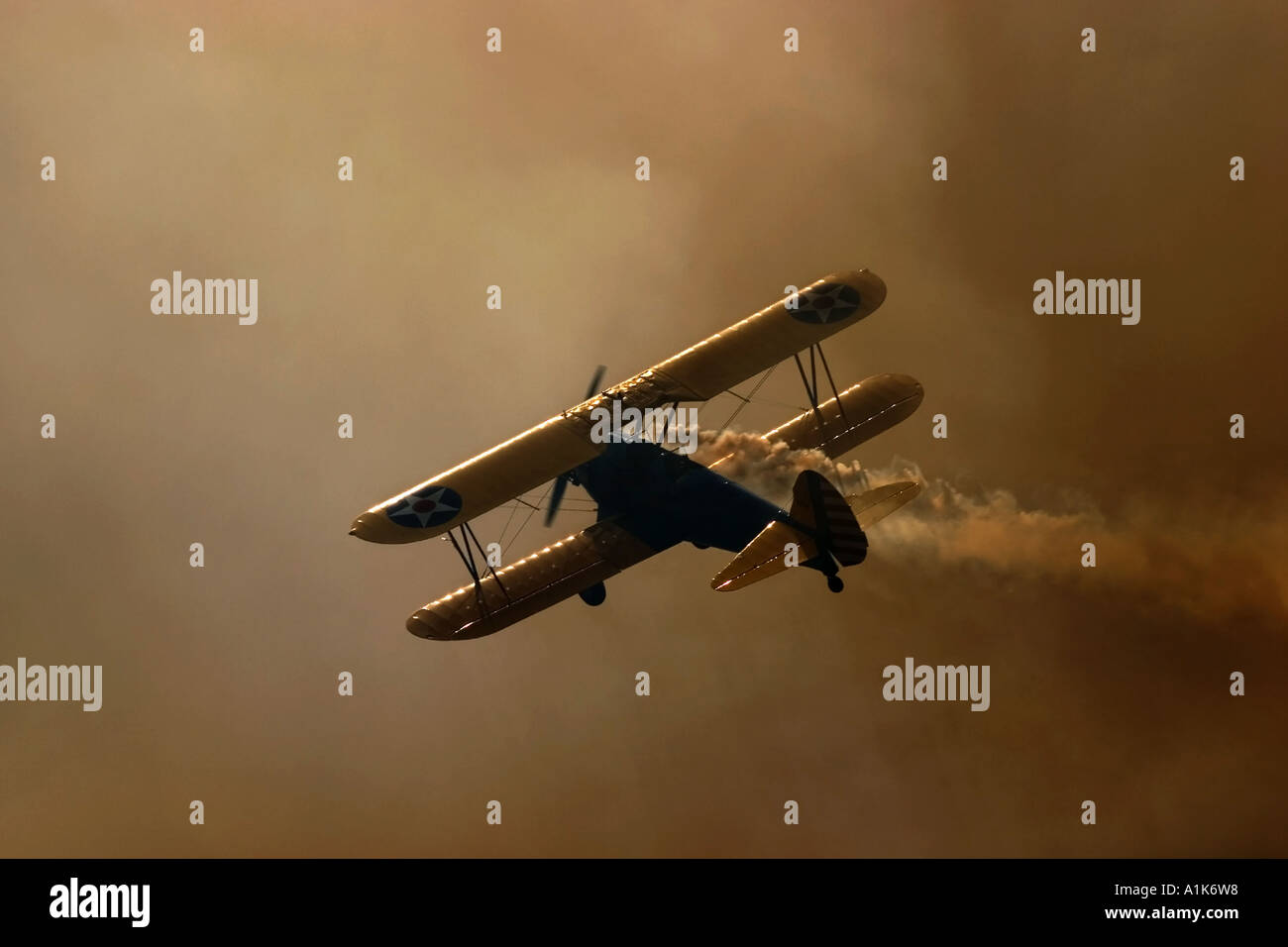 A long Way Home, Bi Plane smoking - Stock Image