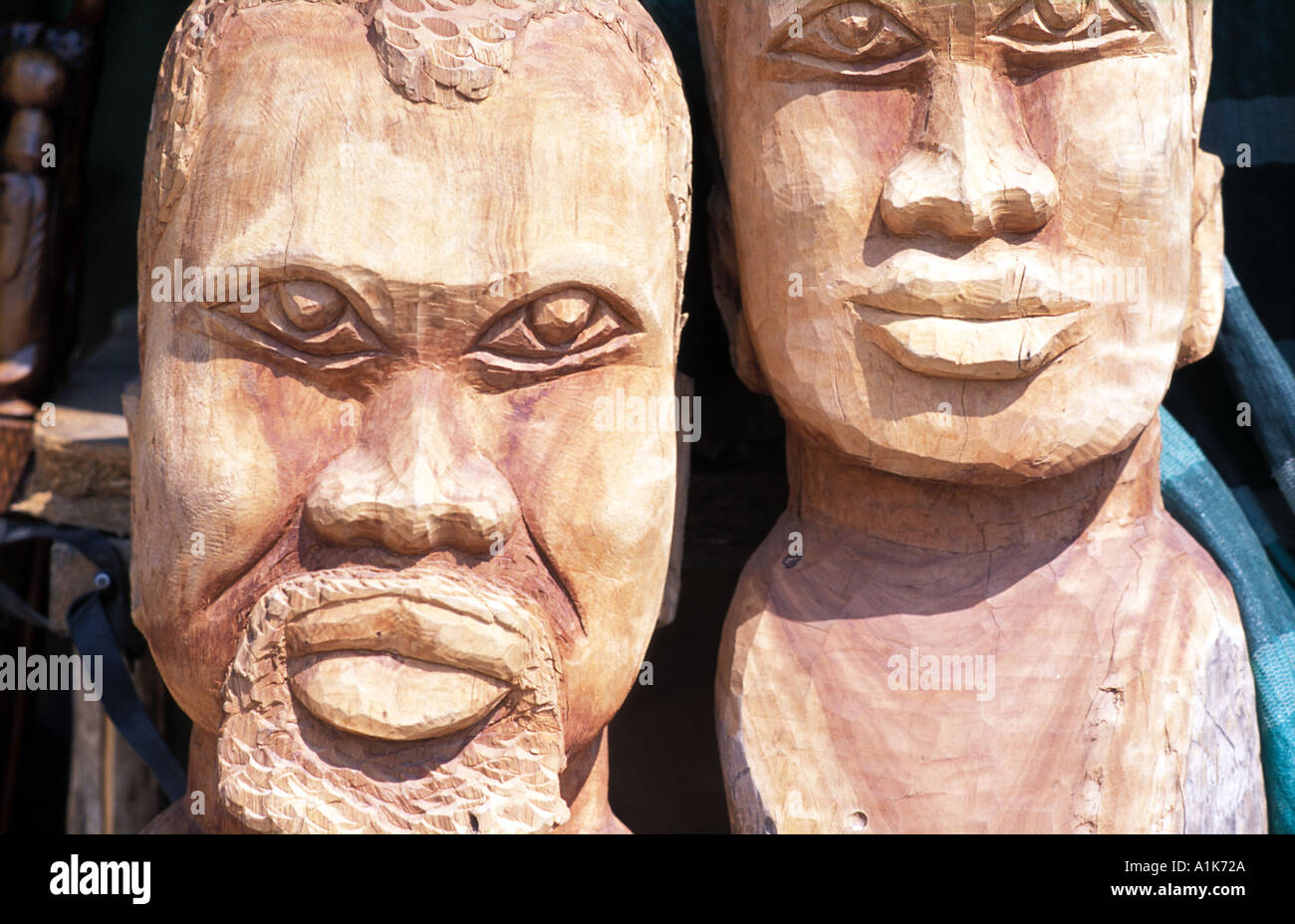 Tribal style wood carvings for sale Okahandja Namibia - Stock Image
