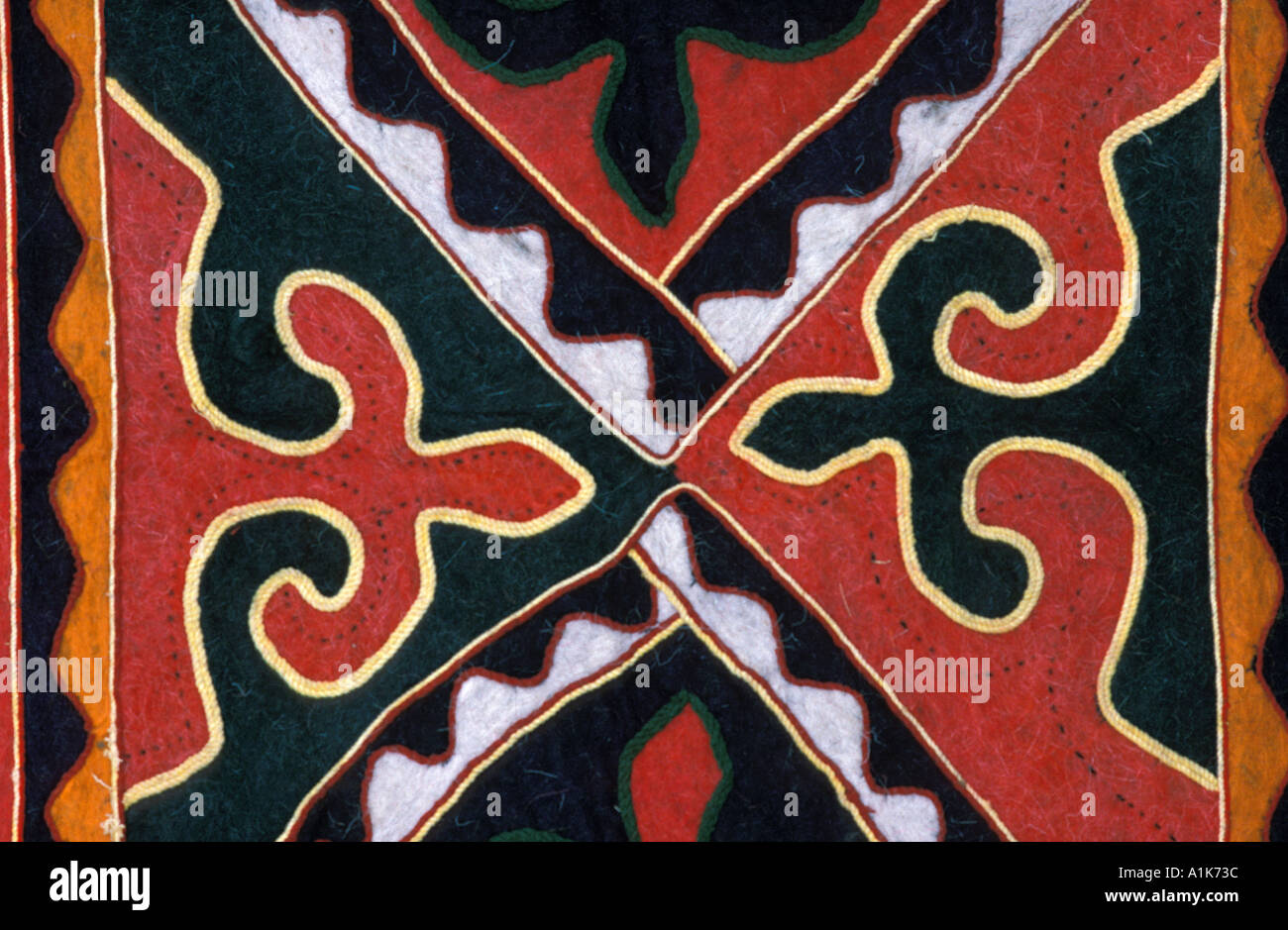 Felt and applique fabric from Xinjiang China Sold in Kashgar and routes along the Karakoram Highway - Stock Image