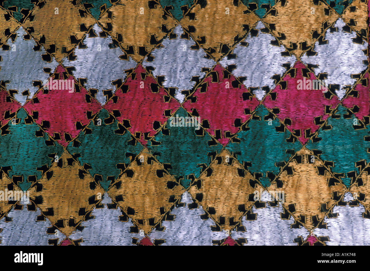 Silk embroidered textiles from The Pakistan and China region of the Karakoram Highway - Stock Image