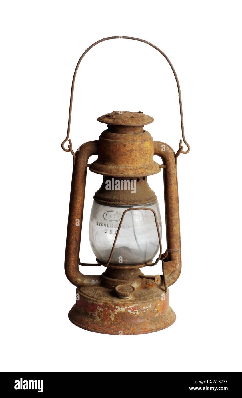 Rusty antique lantern - Stock Image