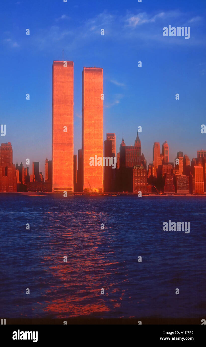 New York City World Trade Center Twin Towers sunset reflection - Stock Image