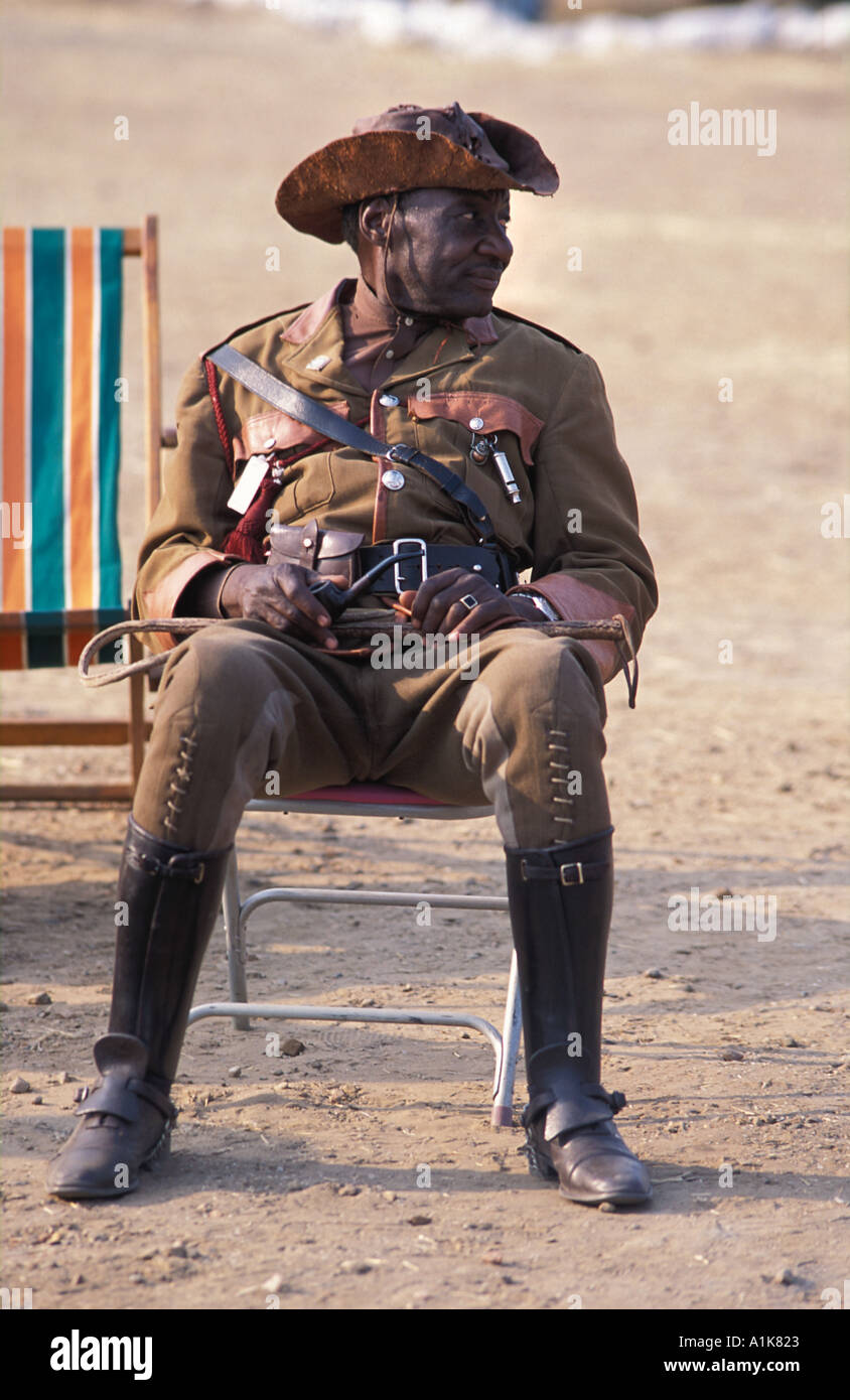 Tribal chief of paramilitary style group The main Herero festival is held in Okahandja on Maherero day August Namibia - Stock Image
