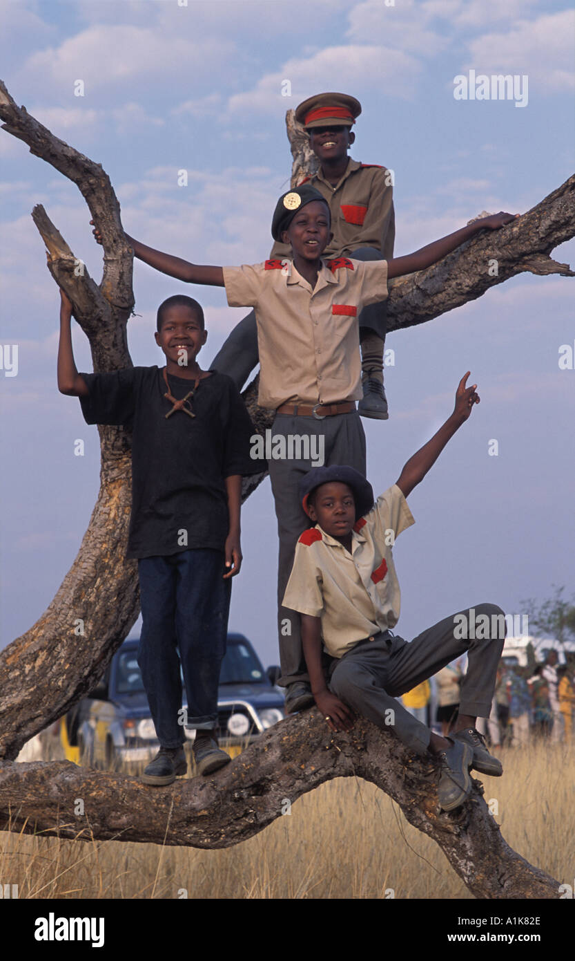 Young members of paramilitary style group in uniform for the main Herero festival Maherero day August Okahandja Namibia - Stock Image