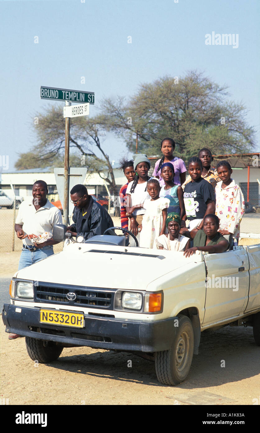People in local transport flock to the MaHerero Day festival Celebrations are held in Okahandja in August Okahandja Namibia - Stock Image
