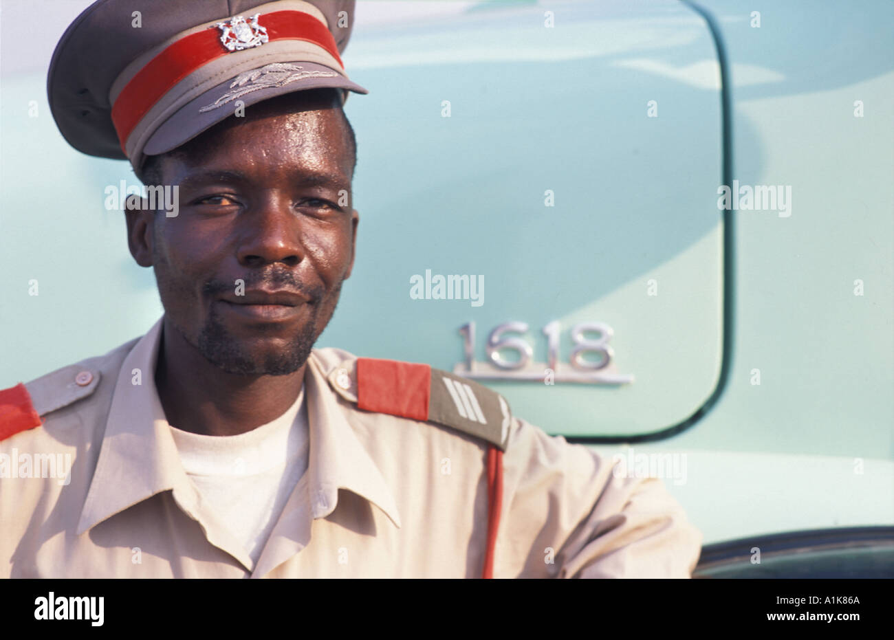 Member of paramilitary group in uniform for the main Herero festival Celebrations are held in Okahandja Maherero day Namibia - Stock Image