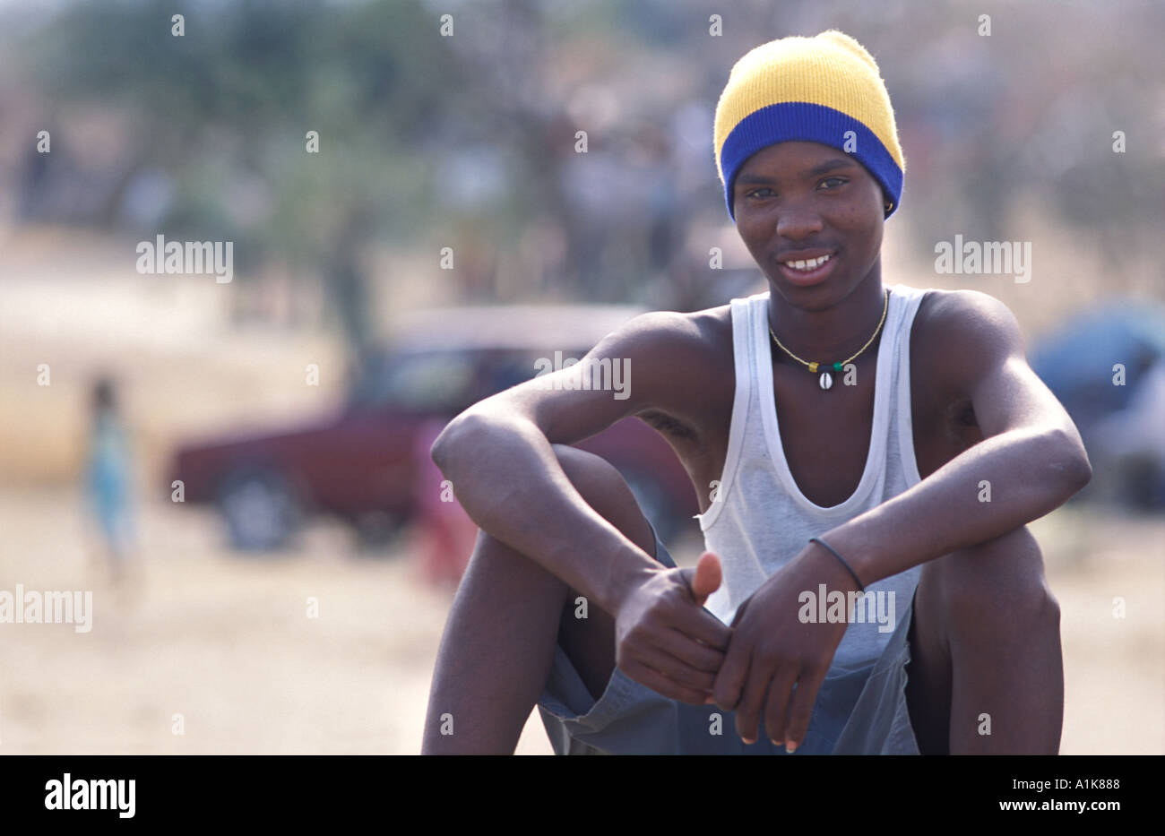 Herero youth poses for a photo MaHerero Day festival Celebrations are held in Okahandja in August Okahandja Namibia - Stock Image