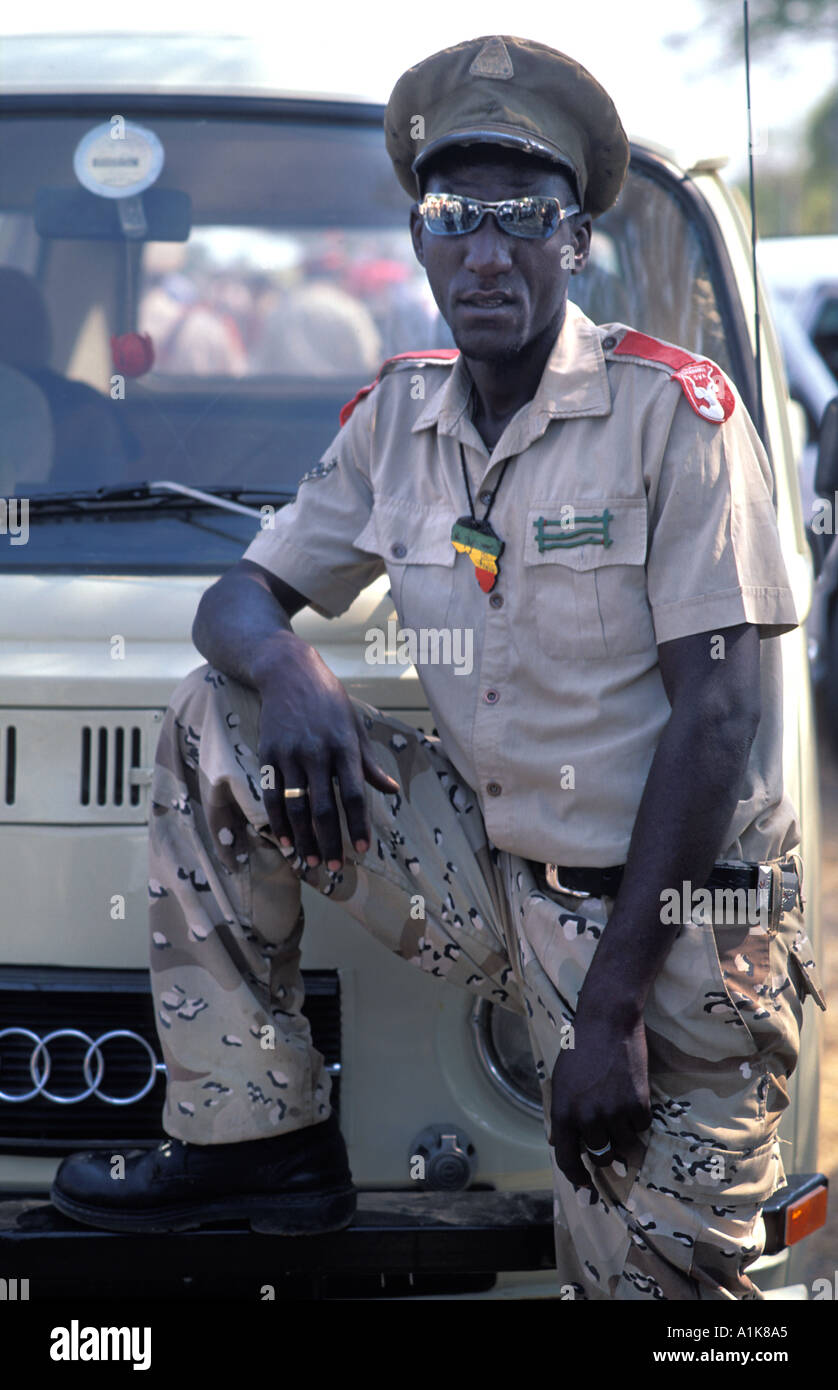 Member of paramilitary style group in uniform for the main Herero festival which falls in August each year Okahandja Namibia - Stock Image