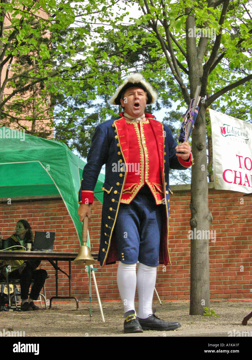 Holland Michigan Tulip Festival Town Crier demonstrations and contests - Stock Image
