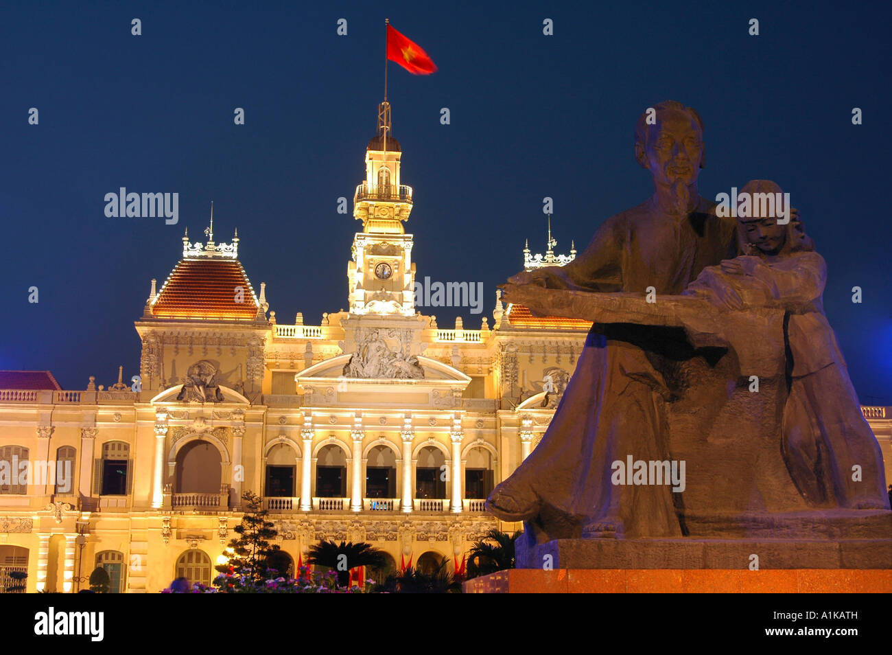 Monument of President Ho Chi Minh in front of the city's People's Committee Building Ho Chi Minh City Saigon - Stock Image