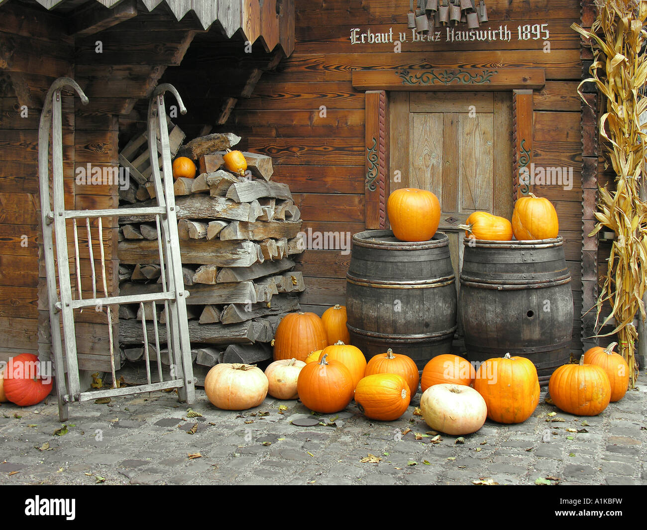 Autumnal decorations in the Switzerland area, Europapark Rust, Baden-Wuerttemberg, Germany - Stock Image