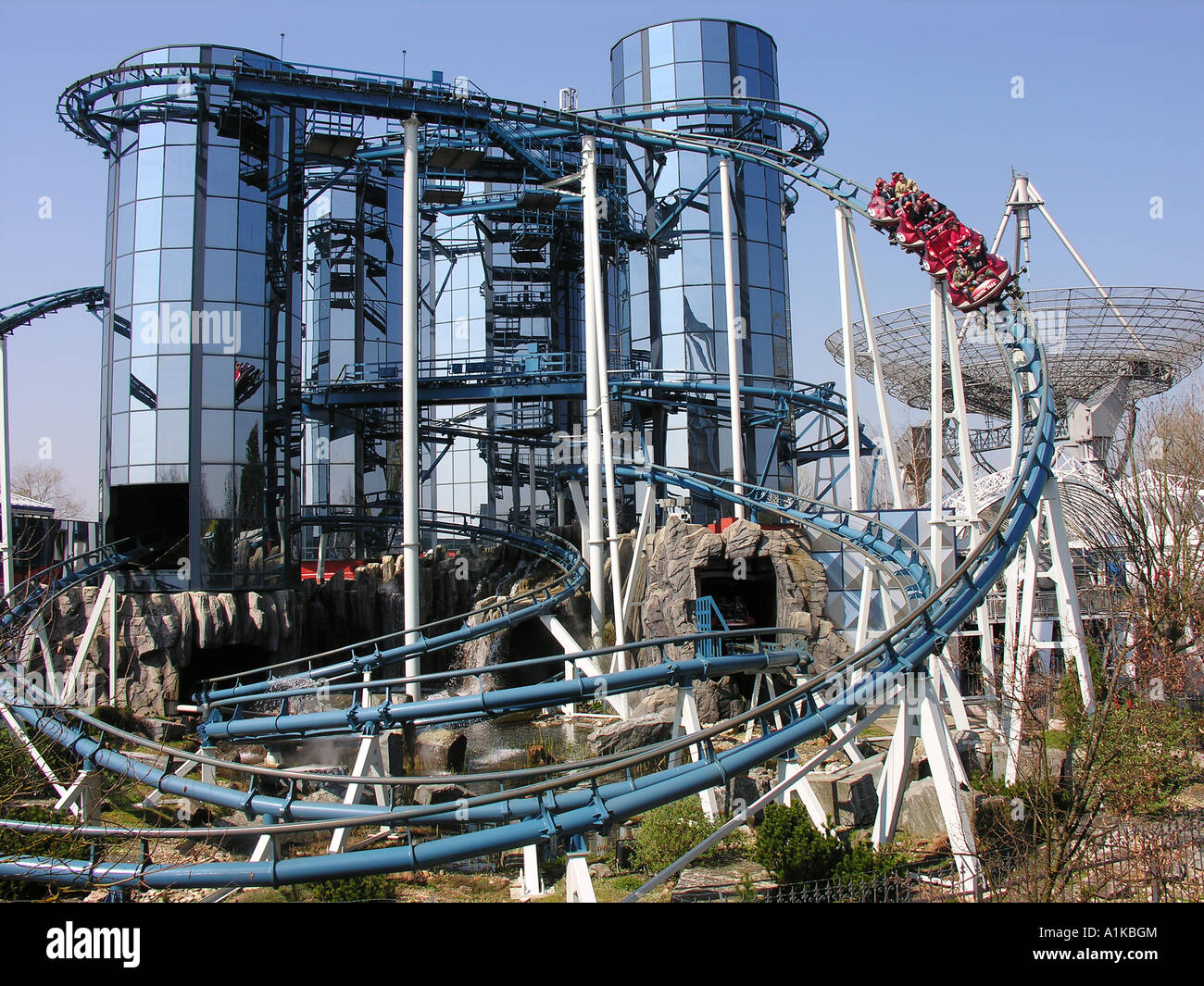 Roller coaster Euromir in the Europapark Rust, Baden-Wuerttemberg, Germany - Stock Image