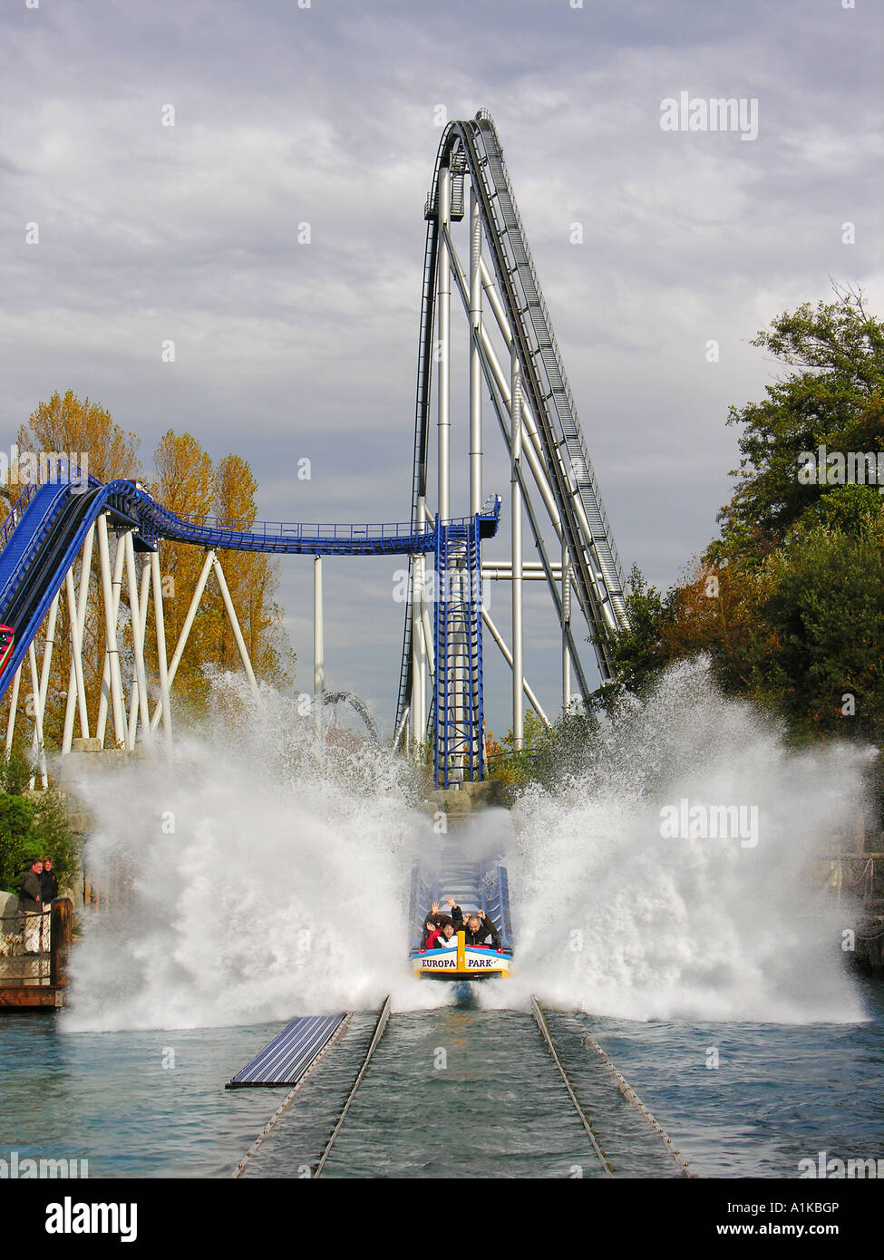 Water slide Poseidon and roller coaster Silverstar in the Europapark Rust, Baden-Wuerttemberg, Germany - Stock Image