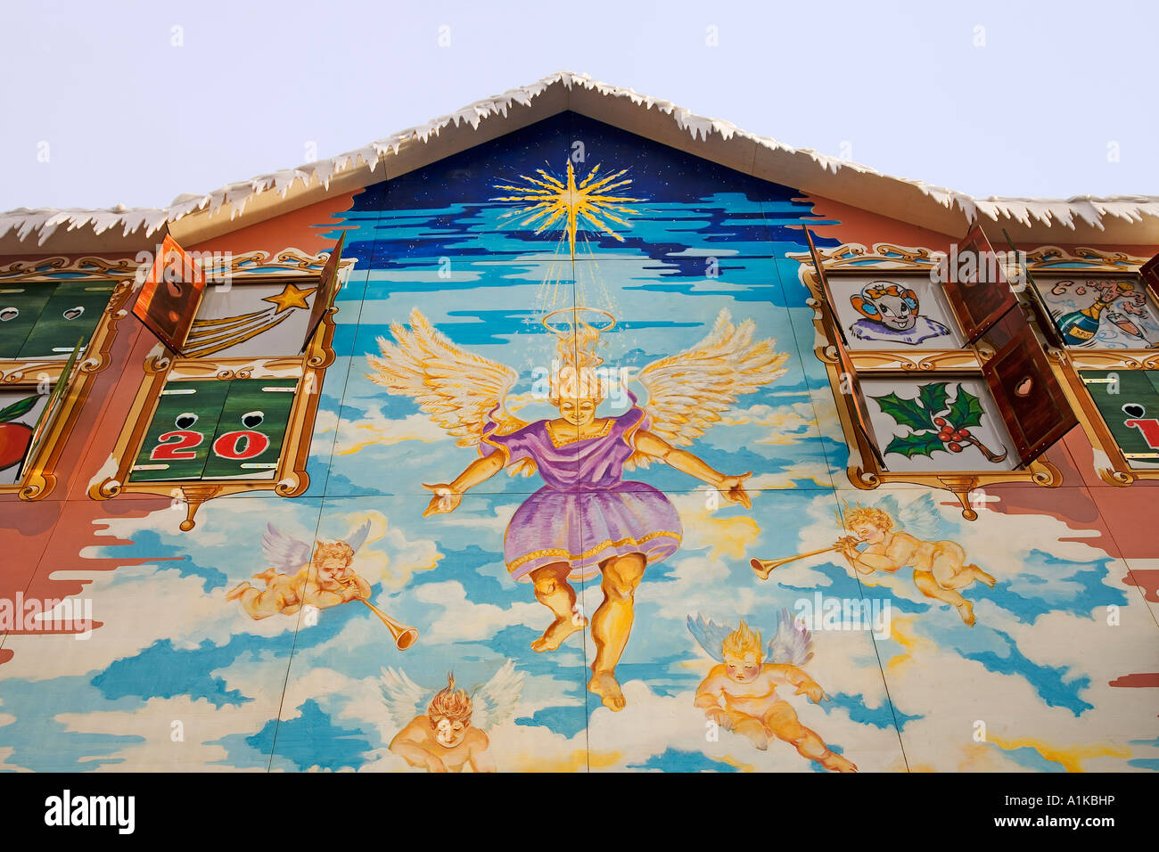 House front as advent calender, Europa-Park Rust, Baden-Wuerttemberg, Germany - Stock Image