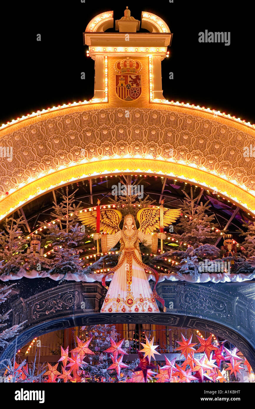 Christmas decorations, Europa-Park Rust, Baden-Wuerttemberg, Germany - Stock Image