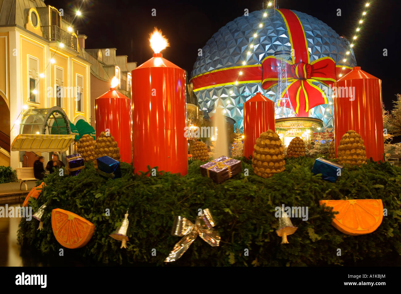 Enormous advent calender, Europa-Park Rust, Baden-Wuerttemberg, Germany - Stock Image