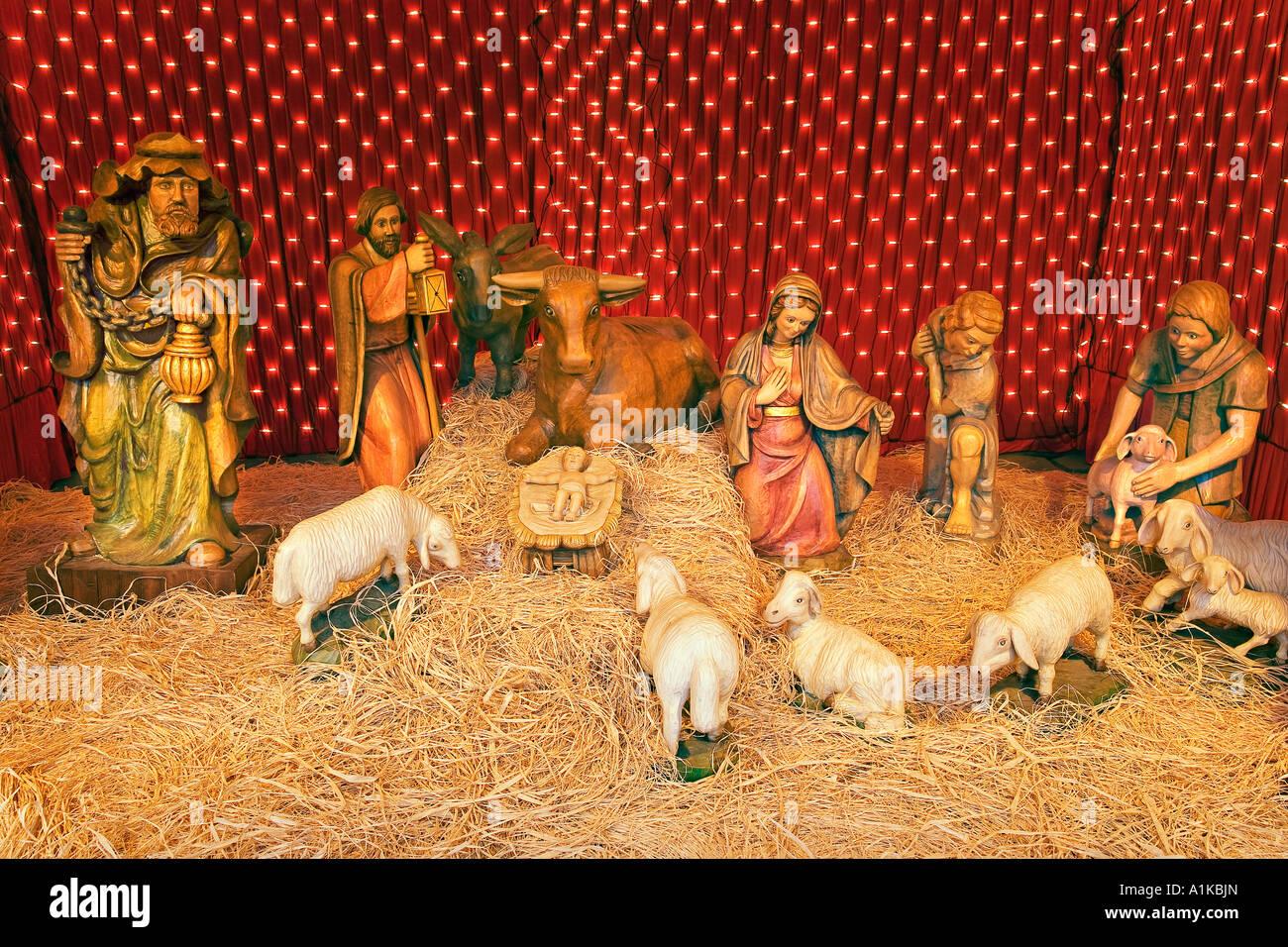 Carved nativity scene, Europa-Park Rust, Baden-Wuerttemberg, Germany - Stock Image