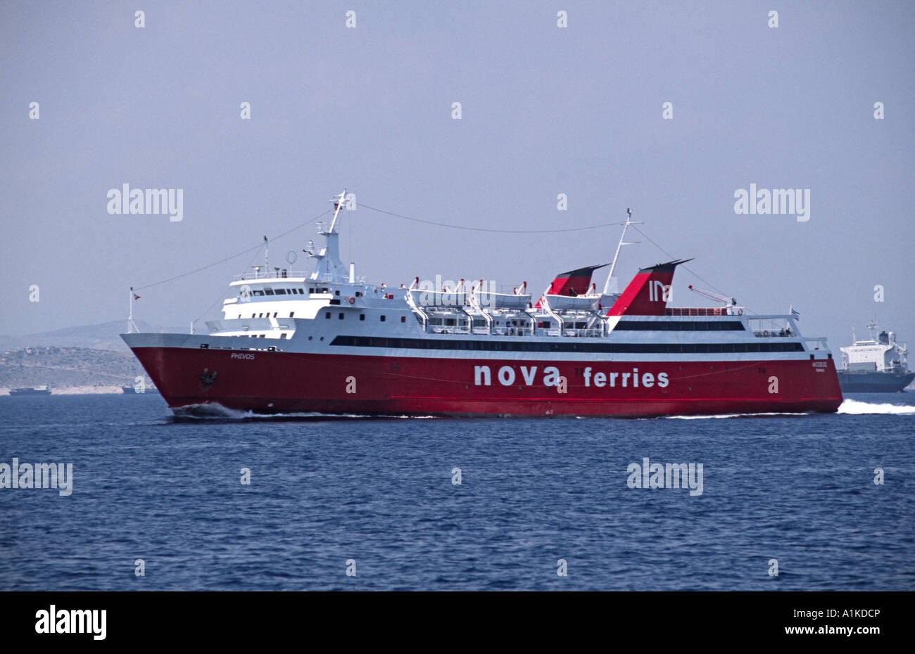 Phivos of Nova Ferries sails between Piraeus and Aegina in Greece. Stock Photo