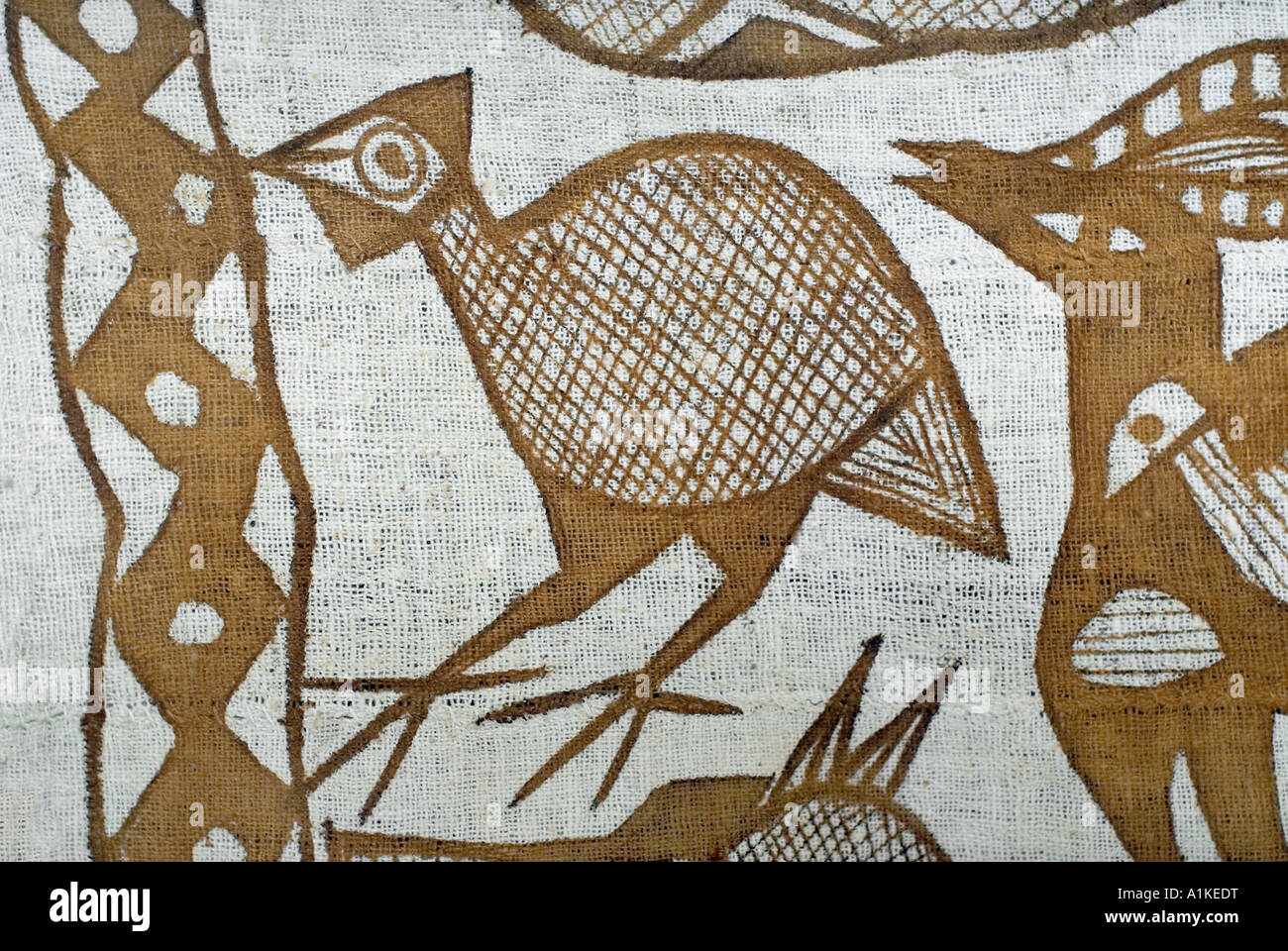 Detail of a painted cotton textile from the Senoufo people of the Korhogo region of the Ivory Coast West Africa - Stock Image