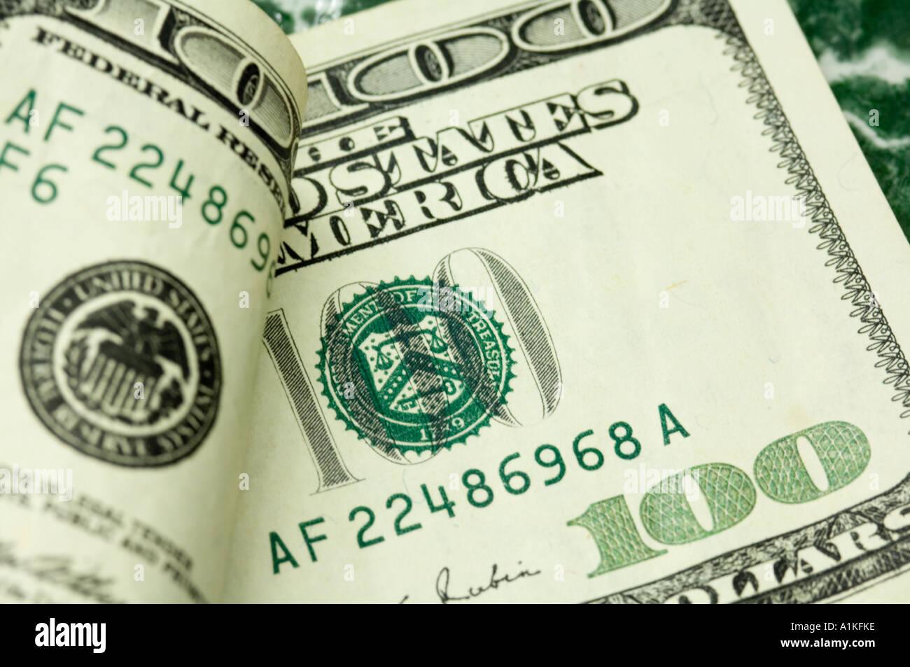 closeup of one hundred dollar bills US - Stock Image