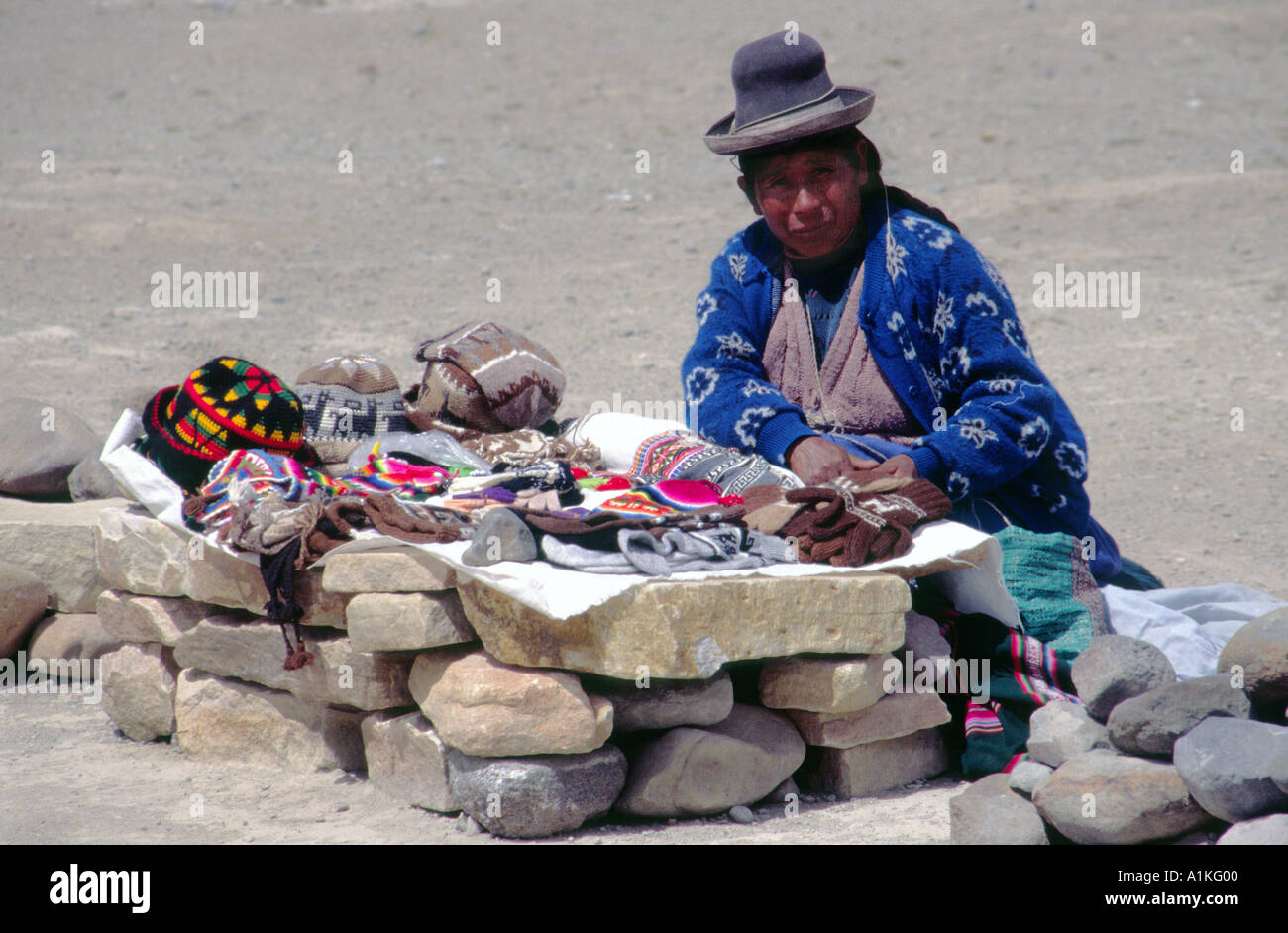Woman selling clothing made from alpaca wool in the Colca Canyon region in  Peru - Stock 298fa3b3da9b