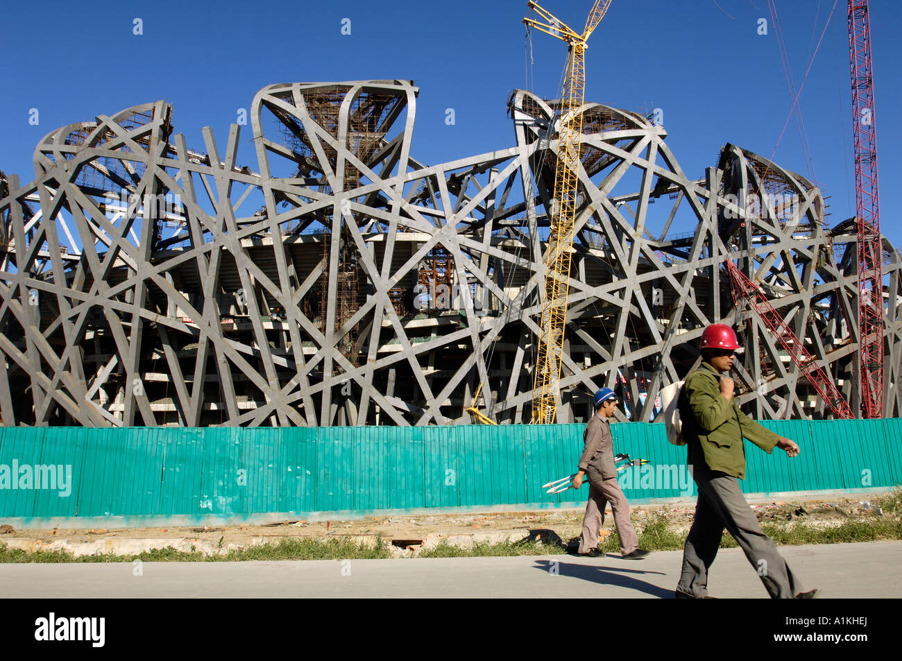 Construction Site of National Stadium for 2008 Olympic Games in Beijing China 8 Sep 2006 Stock Photo