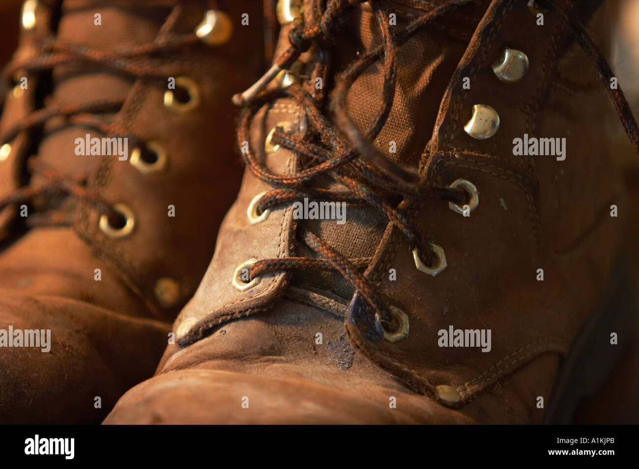 377fcc8a9d1 A pair of well-worn leather boots Stock Photo: 5875946 - Alamy