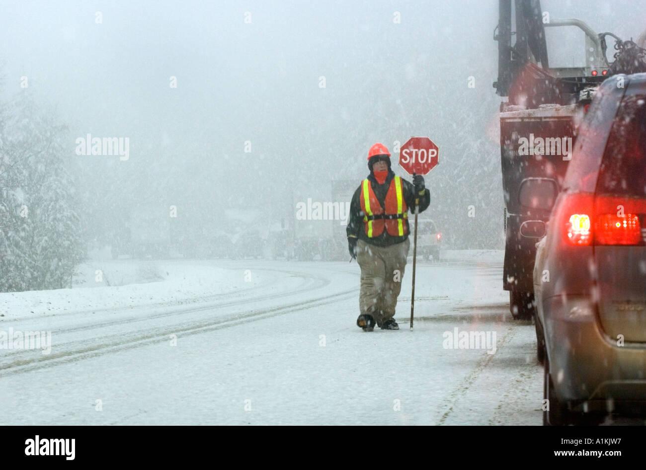 flagman walking past traffic jam during avalanche control - Stock Image