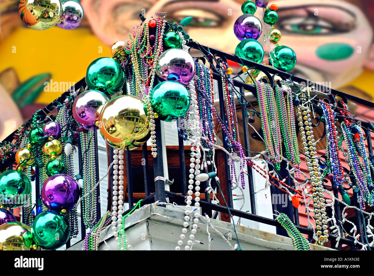 Mardi Gras Decorations On Balcony In New Orleans Stock Photo